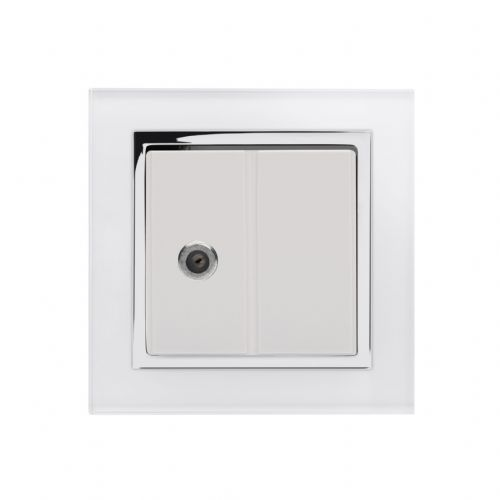 RetroTouch Single Satellite Socket White Glass CT 04844